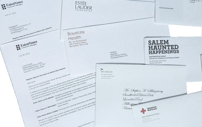 direct mail letter and envelopes